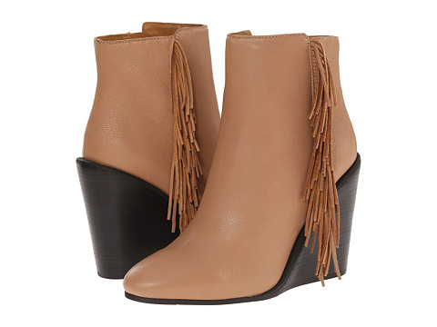 Incaltaminte Femei See by Chloe Pebbled Leather Wedge Bootie with A Fringe Nude