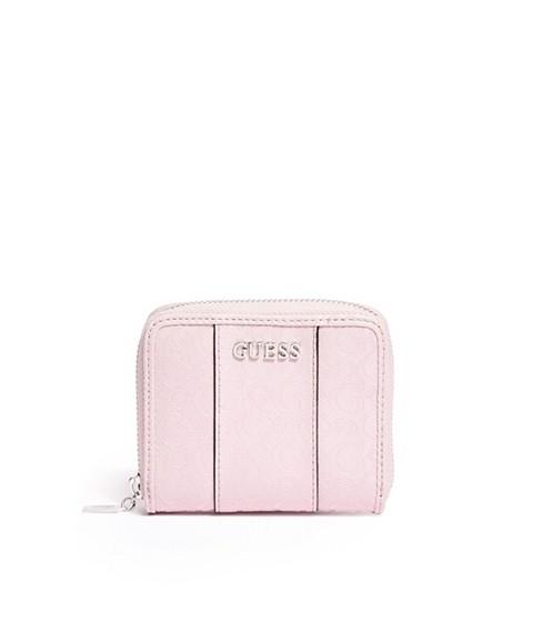 Genti Femei GUESS Ware Patent Logo Small Zip-Around Wallet blush