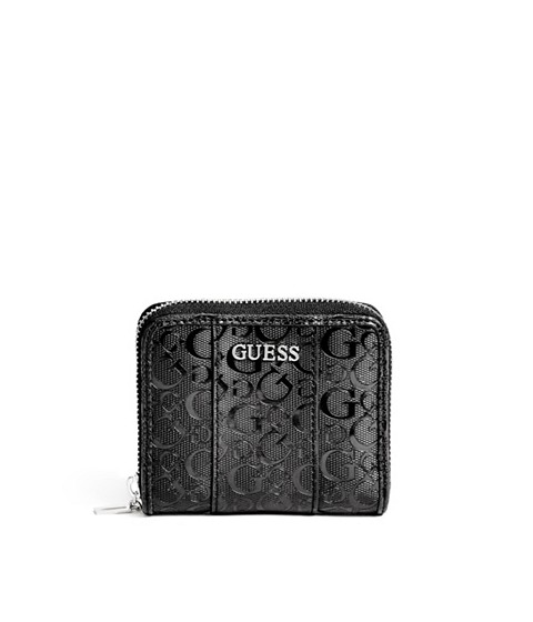 Genti Femei GUESS Ware Patent Logo Small Zip-Around Wallet black