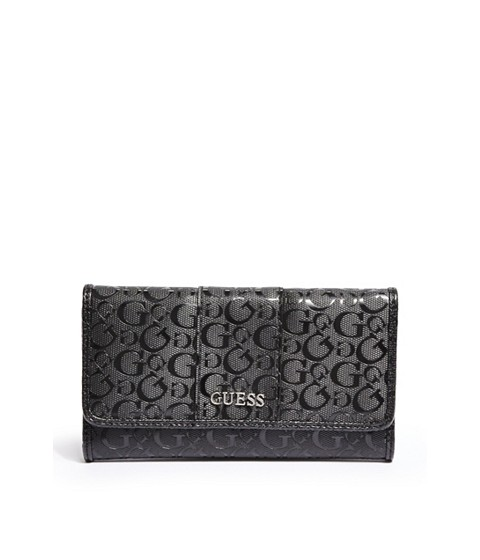Genti Femei GUESS Ware Patent Logo Slim Wallet black