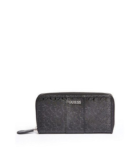 Genti Femei GUESS Ware Patent Logo Zip-Around Wallet black