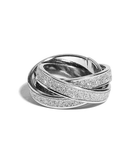 Bijuterii Femei GUESS Silver-Tone Intertwined Glitter Ring silver