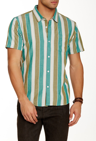 Imbracaminte Barbati RVCA Permanent Press Striped Short Sleeve Shirt CAPER