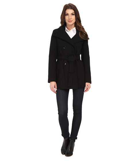 Imbracaminte Femei Calvin Klein Double Breasted Stand Collar Belted Peacoat Black Basket
