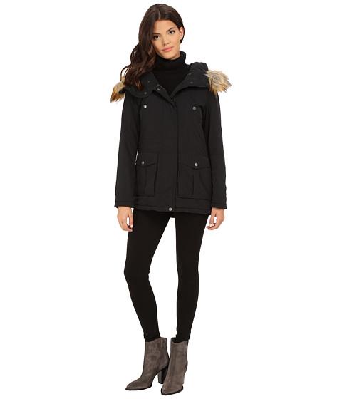 Imbracaminte Femei DKNY Fur Hooded Anorak w Orange Contrast Lining 82441-Y5 Black