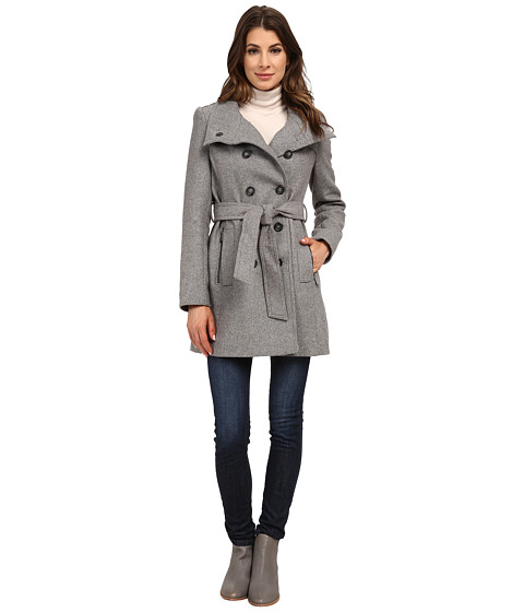 Imbracaminte Femei DKNY Double Breasted Stand Collar Trench w Zip Pockets 13439-Y5 Light Grey