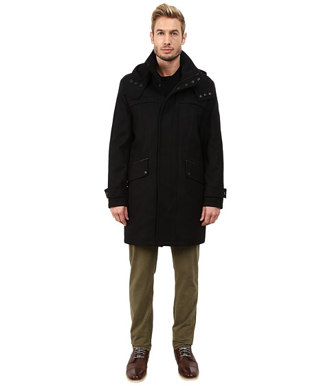 Imbracaminte Barbati Cole Haan Melton Parka with Oversized Hood Black