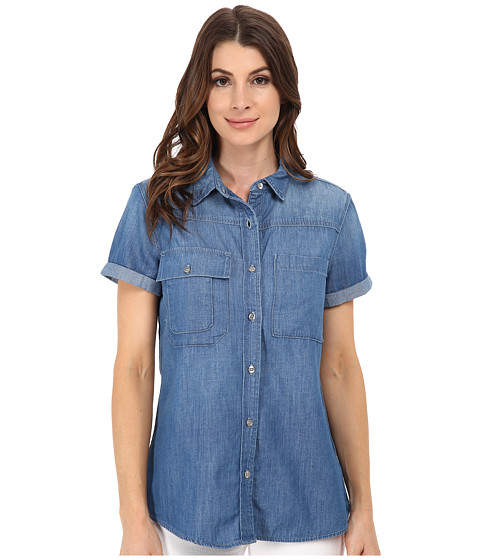 Imbracaminte Femei 7 For All Mankind Short Sleeve Multiple Pocket Denim Shirt Skylight Blue