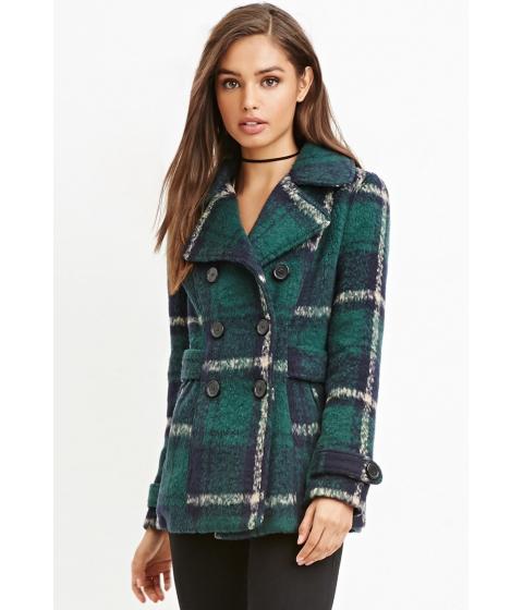 Imbracaminte Femei Forever21 Tartan Plaid Coat Navygreen