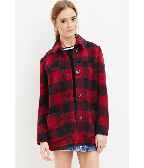 Imbracaminte Femei Forever21 Buffalo Plaid Wool-Blend Coat Redblack