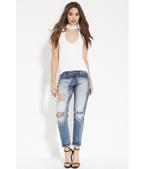 Imbracaminte Femei Forever21 Destroyed Ankle Jeans Denim
