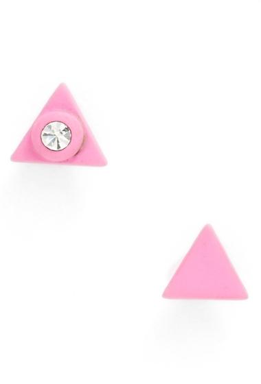 Bijuterii Femei Marc by Marc Jacobs Rubber Triangle Stud Earrings KNOCK OUT PINK