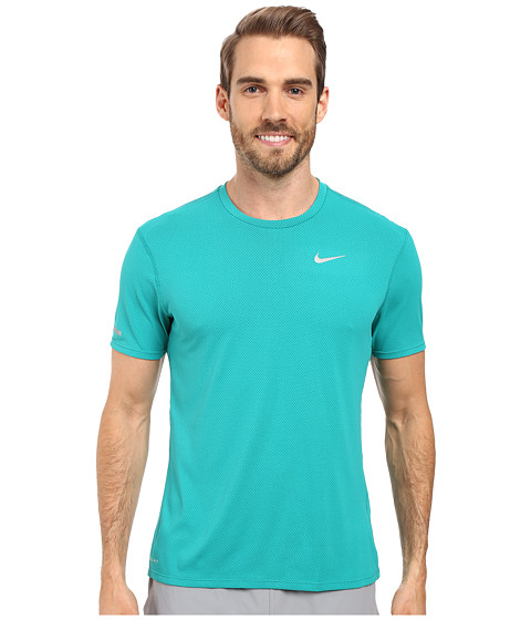 Imbracaminte Barbati Nike Dri-FITtrade Contour SS Running Shirt Teal ChargeReflective Silver