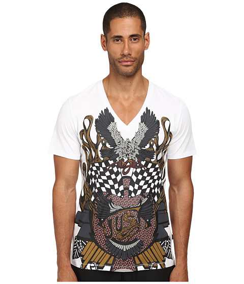 Imbracaminte Barbati Just Cavalli Vintage Eagle Check V-Neck Tee White