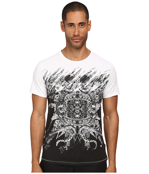 Imbracaminte Barbati Just Cavalli Mirrored Baroque Ring Tee White