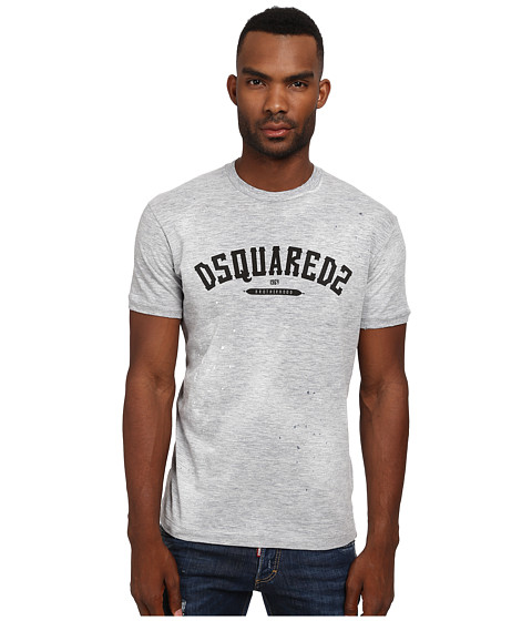 Imbracaminte Barbati DSQUARED2 Logo Chic Dan Fit Tee Light Grey Melange