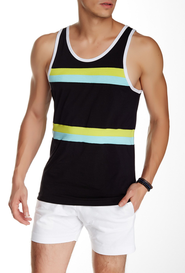 Imbracaminte Barbati Parke Ronen Olympian Tank BLACK W-LIME AND TURQUOISE
