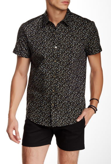 Imbracaminte Barbati Parke Ronen Elation Short Sleeve Slim Fit Shirt BLACK YELLOW FLORAL