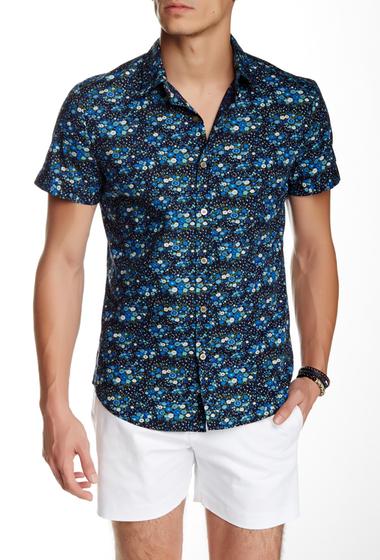 Imbracaminte Barbati Parke Ronen Elation Short Sleeve Slim Fit Shirt BLACK LIGHT BLUE FLORAL
