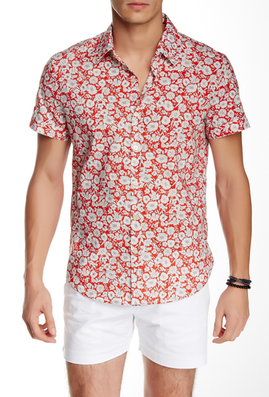 Imbracaminte Barbati Parke Ronen Biscayne Short Sleeve Slim Fit Shirt RED GIRASOLE