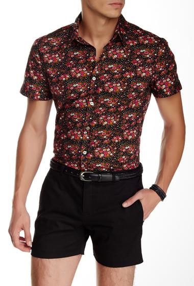 Imbracaminte Barbati Parke Ronen Elation Short Sleeve Slim Fit Shirt BLACK PINK WHITE FLORAL