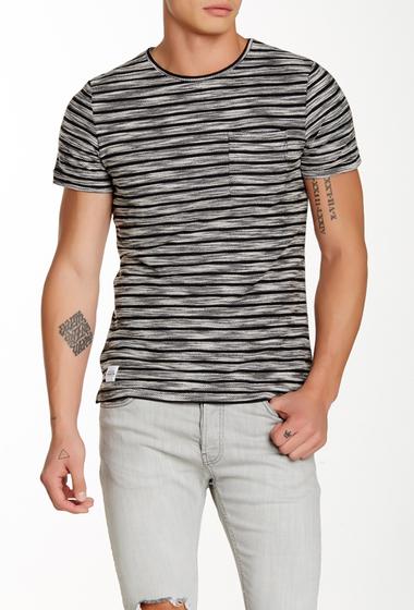 Imbracaminte Barbati NATIVE YOUTH Textured Stripe Crew Neck Tee BLACK-WHITE