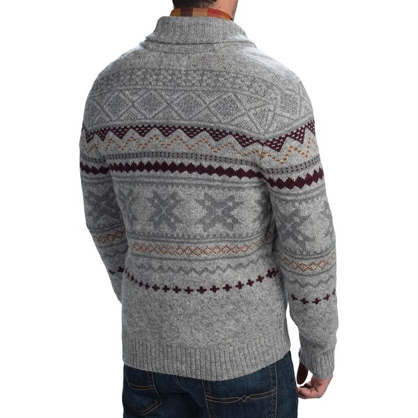 Imbracaminte Barbati Woolrich Ultra-Line Fair Isle Cardigan Sweater - Button Front Wool DEEP INDIGO HEATHER (01)
