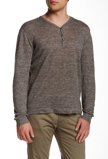 Imbracaminte Barbati Star USA By John Varvatos Linen Henley Long Sleeve Tee PEBBLE GRE