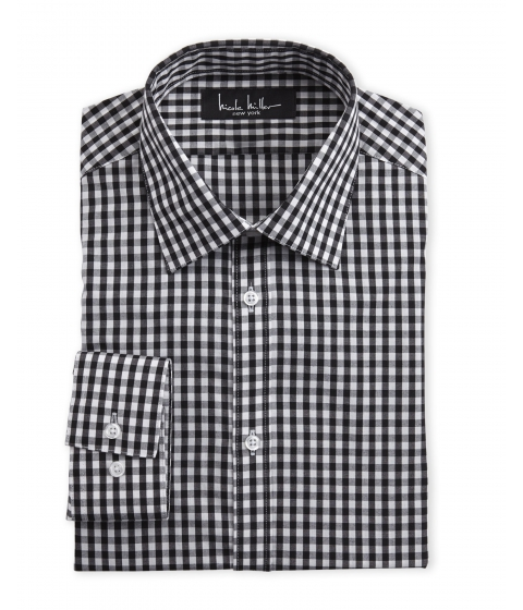 Imbracaminte Barbati Nicole Miller Black Check Slim Fit Dress Shirt Black