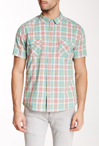 Imbracaminte Barbati Quiksilver Plaid Short Sleeve Modern Fit Shirt GKS3-TANTIV BERYL GREEN