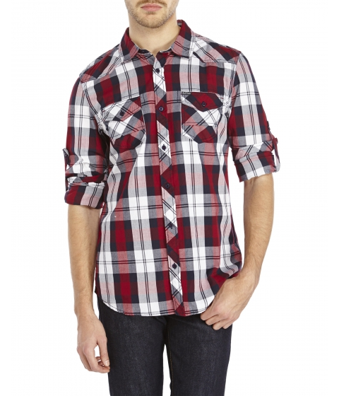 Imbracaminte Barbati Buffalo David Bitton Sabryel Plaid Shirt Red White Navy
