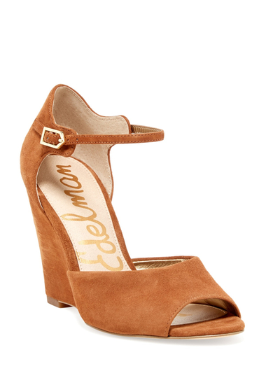 Incaltaminte Femei Sam Edelman Raven Open Toe Ankle Strap Wedge SADDLE