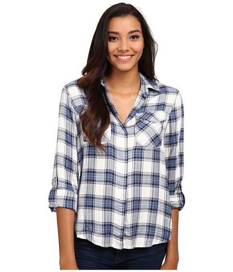 Imbracaminte Femei Sam Edelman Riley Plaid Split Back Blouse with Zipper Detail Indigo