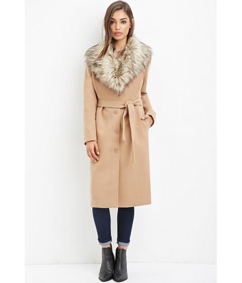 Imbracaminte Femei Forever21 Faux Fur-Trimmed Duster Coat Camel