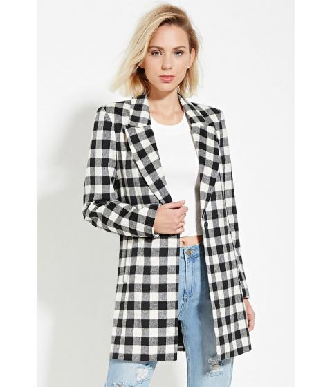 Imbracaminte Femei Forever21 Plaid Longline Coat Black