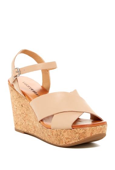 Incaltaminte Femei Lucky Brand Maclaine Platform Wedge Sandal NUDE 01
