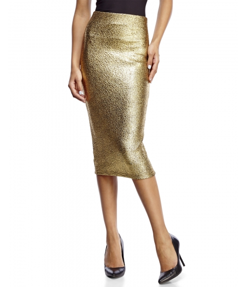 Imbracaminte Femei XOXO Metallic Gold Midi Pencil Skirt Gold Tone