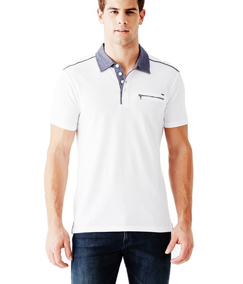 Imbracaminte Barbati GUESS Moore Short-Sleeve Pique Polo true white