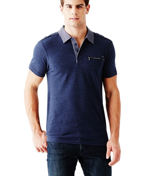 Imbracaminte Barbati GUESS Moore Short-Sleeve Pique Polo ink