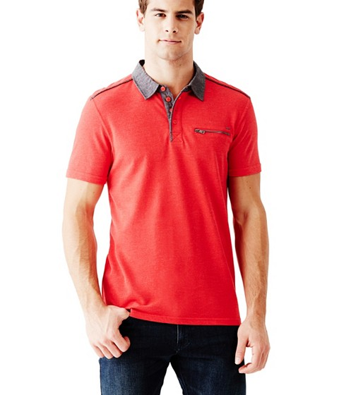 Imbracaminte Barbati GUESS Moore Short-Sleeve Pique Polo red hot