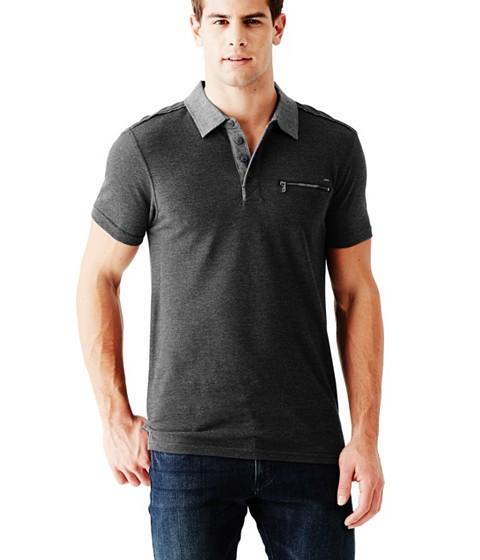Imbracaminte Barbati GUESS Moore Short-Sleeve Pique Polo jet black