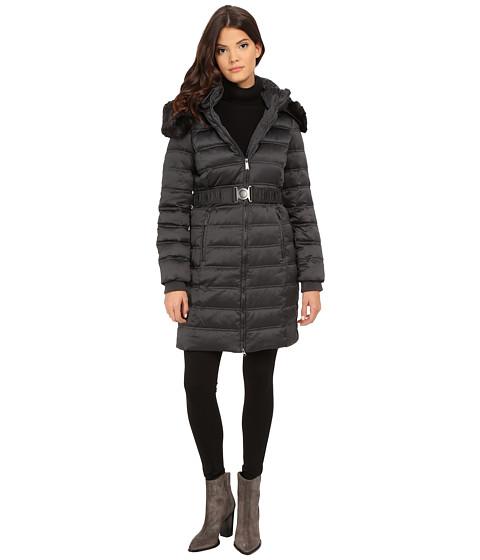 Imbracaminte Femei DKNY Belted Coat w Detachable Faux Fur Collar 75909-Y5 Steel