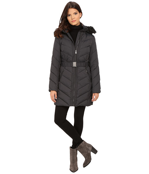 Imbracaminte Femei DKNY Hooded Faux Fur Belted Down w Embroidered Stitch Detail 31508-Y5 Steel