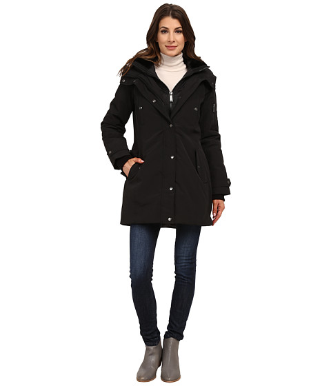 Imbracaminte Femei DKNY Hooded Faux Fur Collar Parka w Inner Bib 46115-Y5 Black