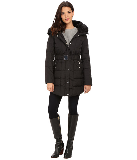 Imbracaminte Femei DKNY Double Faux Fur Collar Belted Hooded Down 31359-Y5 Black