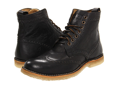 Incaltaminte Barbati Frye Hudson Wingtip Boot Black Tumbled Full Grain