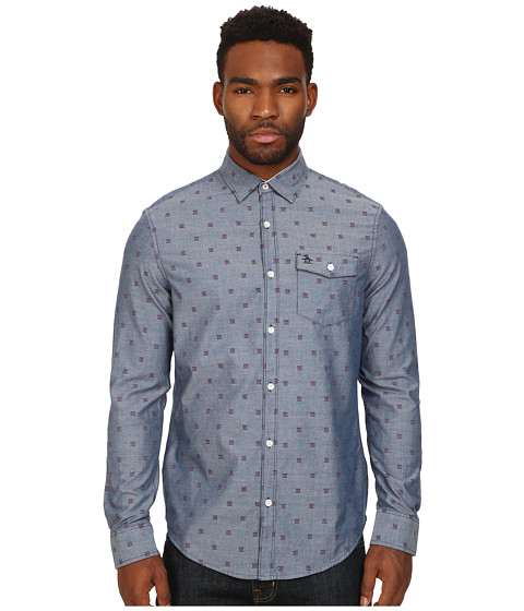 Imbracaminte Barbati Original Penguin Checker Dobby On Chambray Long Sleeve Woven Heritage Shirt Dress Blues