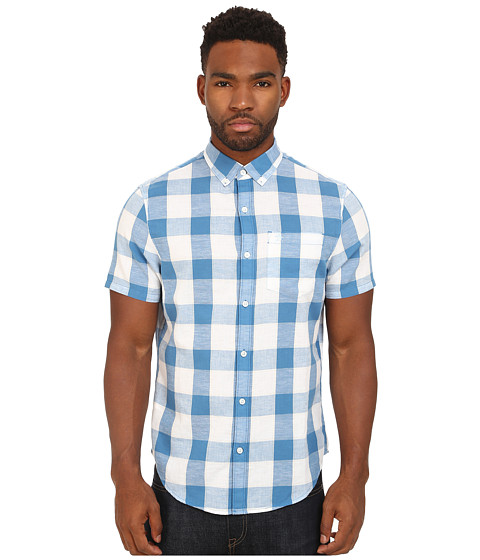 Imbracaminte Barbati Original Penguin Nep Check Short Sleeve Woven Heritage Shirt Vallarta Blue