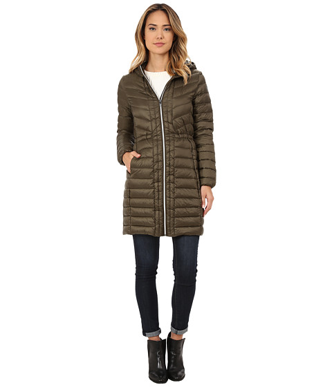 Imbracaminte Femei Cole Haan Chevron Quilted Hooded Single Breasted Lightweight Packable Down Olive