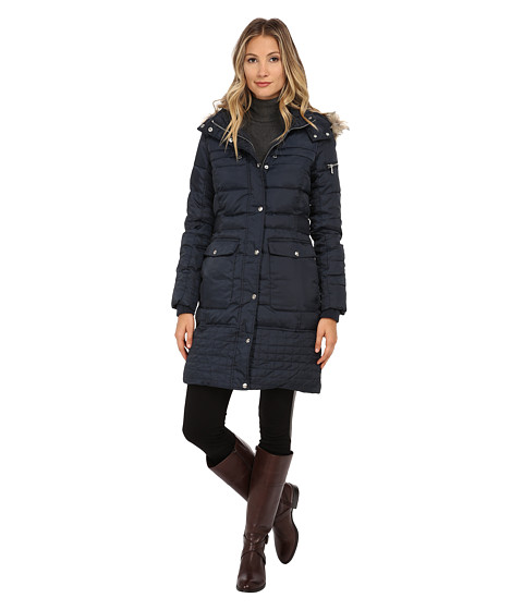 Imbracaminte Femei Sam Edelman Long 34 Down w Horizontal Quilting and Side Tab Detail Jacket Navy